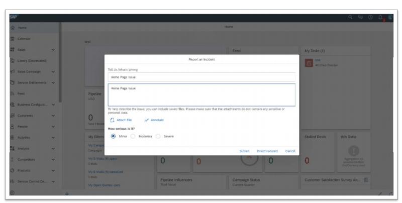 Vorfall melden | C4C SAP Sales und Service Cloud | IBsolution