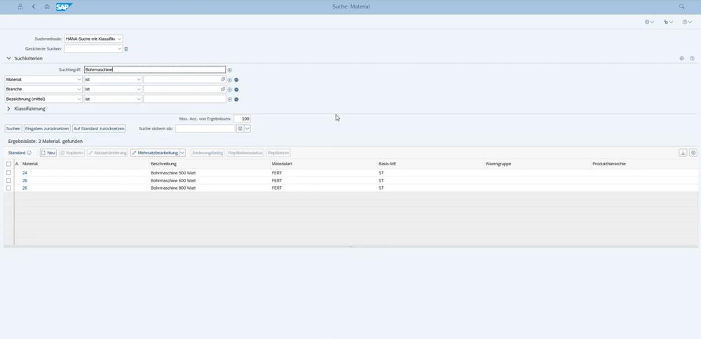 SAP MDG Suchmaske Material suchen IBsolution