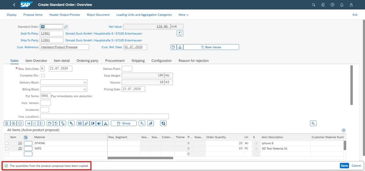IBsolution SAP S4HANA Intelligent product proposal