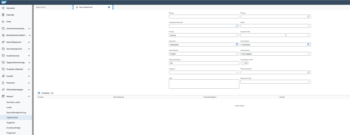 KACO SAP Sales Cloud Neue Opportunity