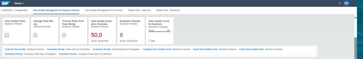 SAP Data Quality Management Fiori-Kacheln