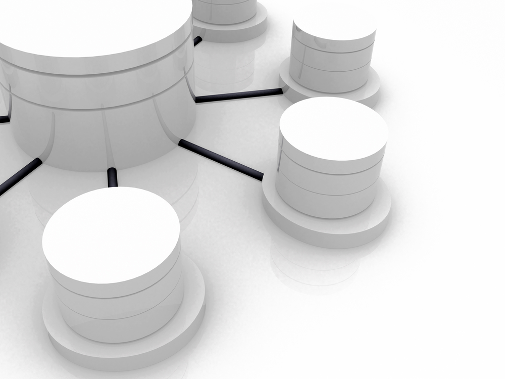 3d image of a database concept over white
