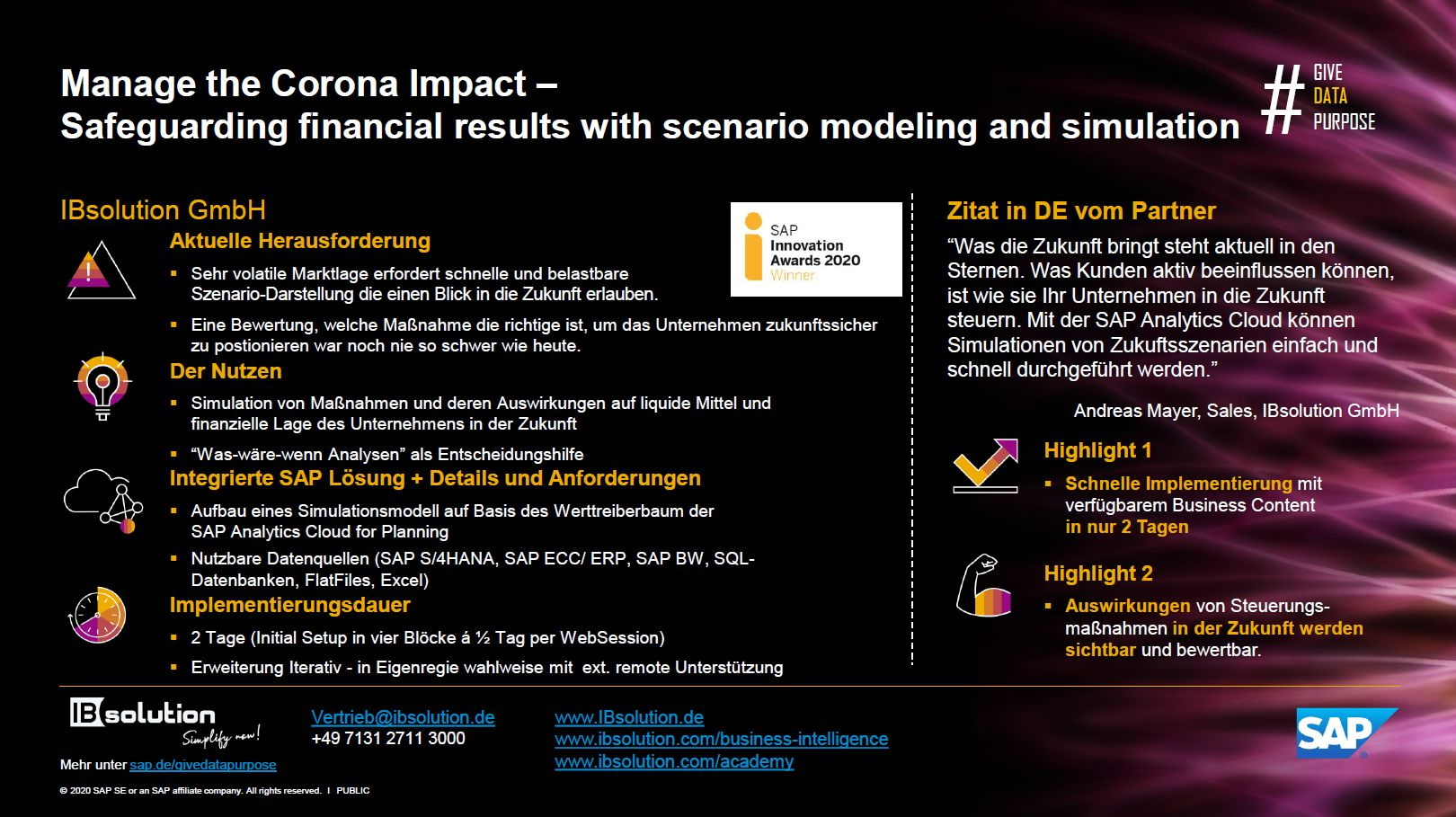 IBsolution Cashflow Scenario Modelling and Simulation