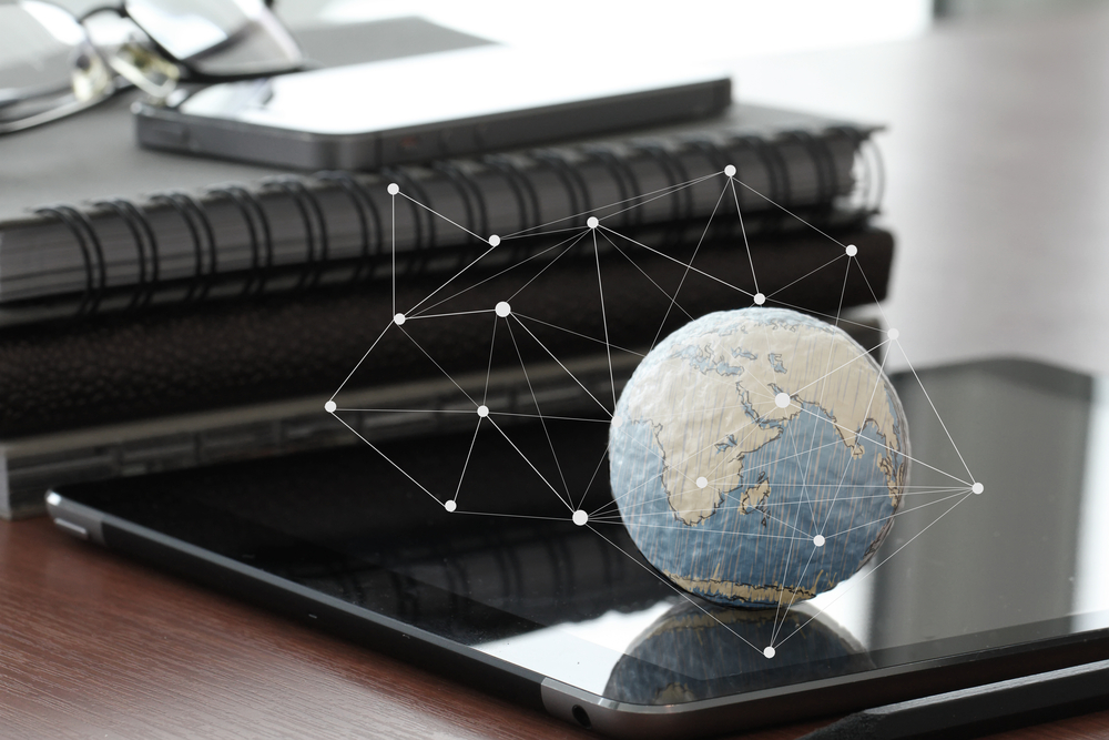 hand drawn texture globe with blank social media diagram on digital tablet computer as internet concept and bokeh exposure-1